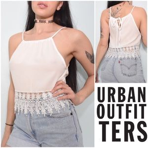 Staring At Stars Lace Trim Crop Top